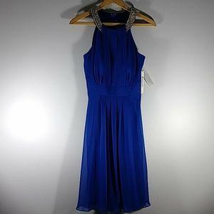 Eliza J blue slvless dress Sz 4 NWT